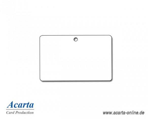 Plastikkarten mit Rundloch (lange Seite), blanko weiß, 0,76 mm, Karton zu 250 Stk