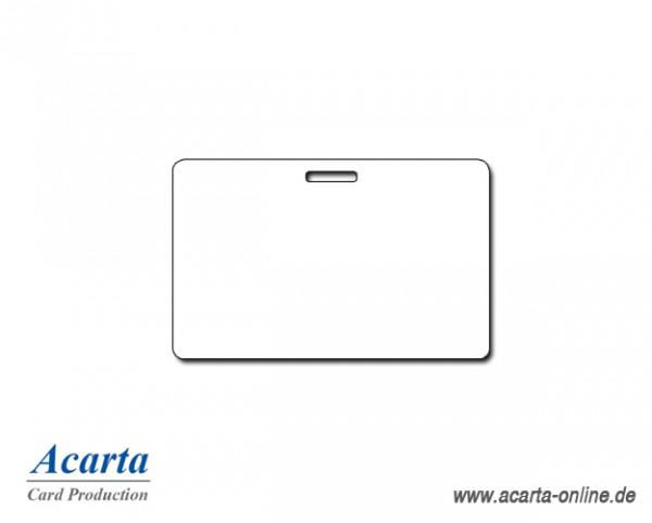 Plastikkarten mit Langloch, blanko weiß, 0,76 mm, Karton zu 500 Stk