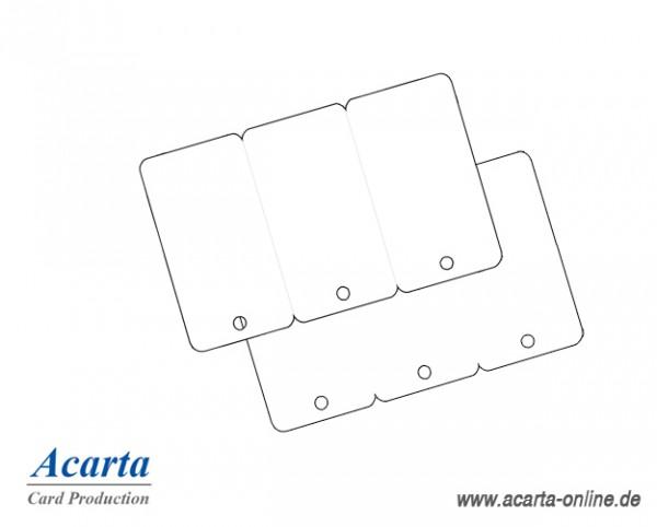 Plastikkarten 3er Keytag, blanko weiß, 0,76 mm, Karton zu 250 Stk
