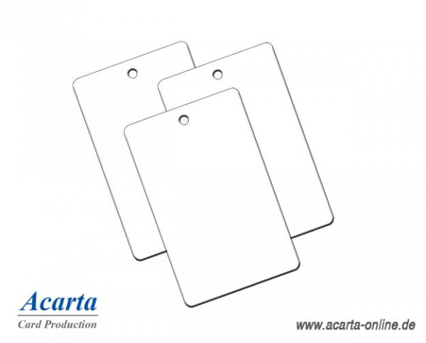 Plastikkarten mit Rundloch (kurze Seite), blanko weiß, 0,76 mm, Karton zu 250 Stk