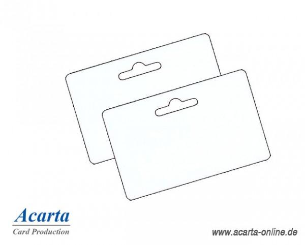 Plastikkarten mit Euroloch klein, blanko weiß, 0,76 mm, Karton zu 250 Stk