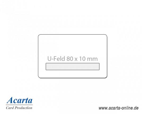 Plastikkarten mit U-Feld 80 x 10 mm, blanko weiß, 0,76 mm, Karton zu 250 Stk